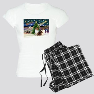 XmasMagic/2 Shelties-S Women's Light Pajamas