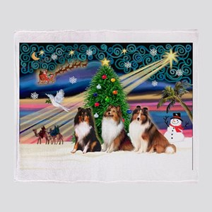 Xmas Magic/3 Shelties (T3) Throw Blanket