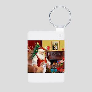 Santa's Shiba Inu Aluminum Photo Keychain