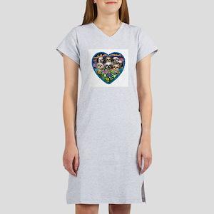 Shih Tzus in Heart Garden Women's Nightshirt