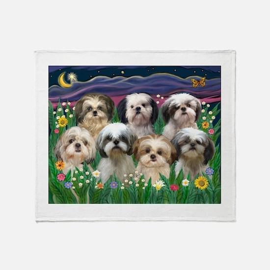 7 Shih Tzus in Moonlight Throw Blanket
