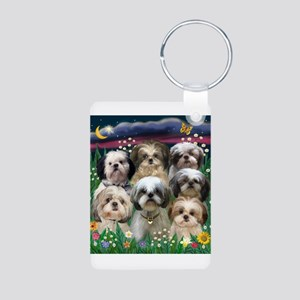 7 Shih Tzus in Moonlight Aluminum Photo Keychain