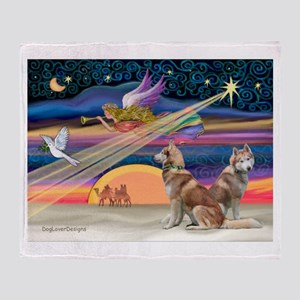 XmasStar/2 Red Huskies Throw Blanket