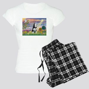 Cloud Angel & Siberian Husky Women's Light Pajamas