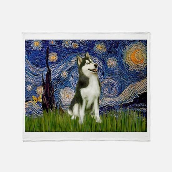 Starry Night & Husky Throw Blanket