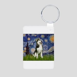 Starry Night & Husky Aluminum Photo Keychain