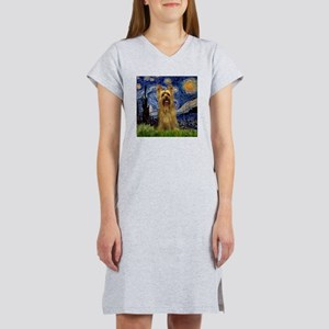 Starry Night Silky Terrier (B Women's Nightshirt