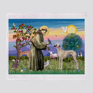 Saint Francis & Sloughi Throw Blanket