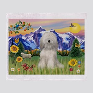Tibetan Terrier in Mt. Countr Throw Blanket