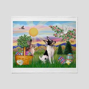 Toy Fox Terrier Easter Throw Blanket