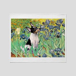 Irises & Toy Fox Terrier Throw Blanket