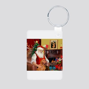 Santa's Vizsla Aluminum Photo Keychain