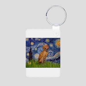 Starry Night & Vizsla Aluminum Photo Keychain