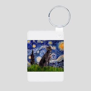 Starry Night Weimaraner Aluminum Photo Keychain