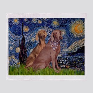 Starry Night Weimaraners Throw Blanket