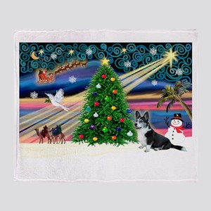 XmasMagic/Corgi (12BW) Throw Blanket