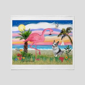 Flamingo & Corgi Throw Blanket