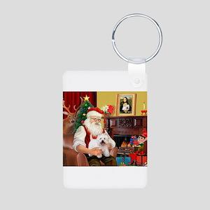 Santa's Westie Aluminum Photo Keychain