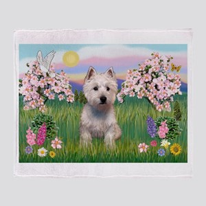 Blossoms & Westie Throw Blanket