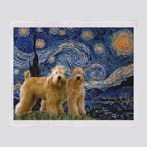 Starry Night & 2 Wheatens Throw Blanket