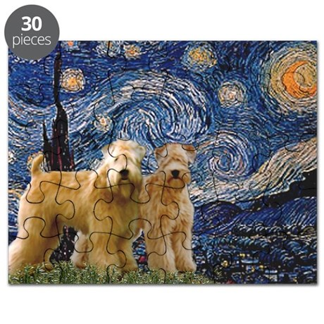 Starry Night & 2 Wheatens Puzzle