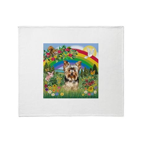 Rainbow/Yorkie (#7) Throw Blanket