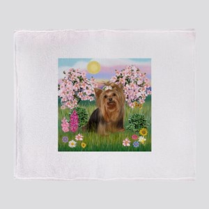 Blossoms/Yorkie #7 Throw Blanket