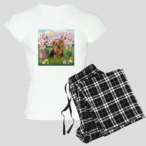 Blossoms/Yorkie #7 Women's Light Pajamas