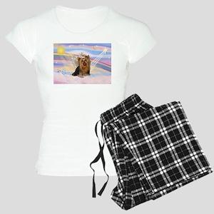 Clouds/Yorkie Angel #7 Women's Light Pajamas