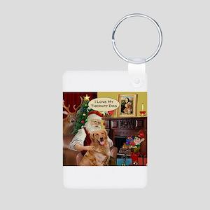 Santa's Golden Therapy Aluminum Photo Keychain