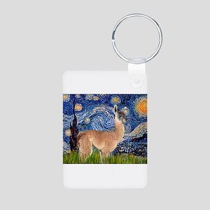 Starry Night Llama Aluminum Photo Keychain
