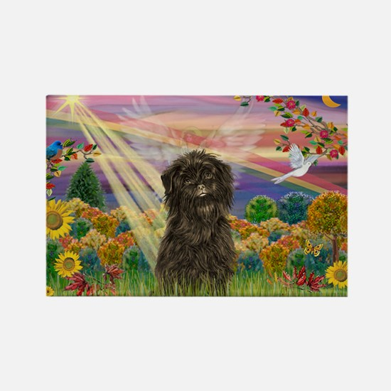 Autumn Angel & Affenpinscher Rectangle Magnet