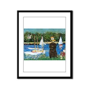 Sailboats & Affenpinscher Framed Panel Print