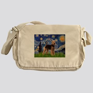 Starry Night Airedale (1) Messenger Bag