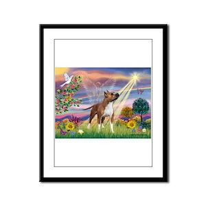 Cloud Angel & Amstaff Framed Panel Print
