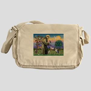 St Francis/Aussie Cat Dog Messenger Bag