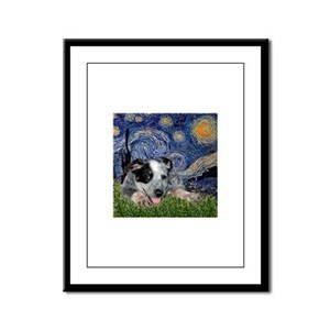Starry Night Cattle Dog Pup Framed Panel Print