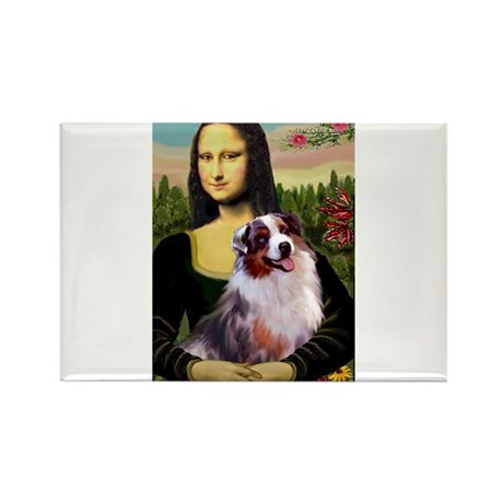 Mona Lisa / Australian Shephe Rectangle Magnet