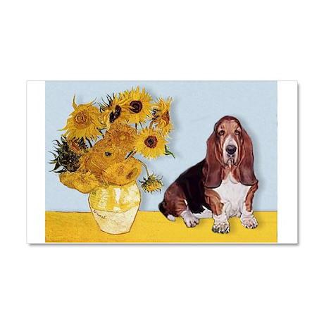 Sunflowers & Basset Car Magnet 20 x 12