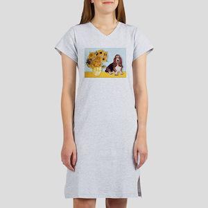 Sunflowers & Basset Women's Nightshirt