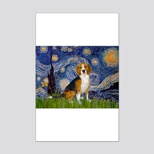 Starry Night & Beagle Mini Poster Print