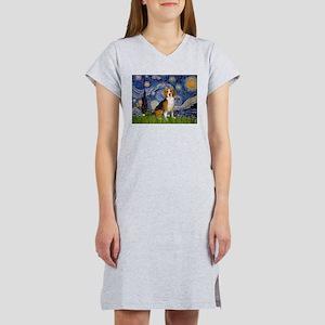 Starry Night & Beagle Women's Nightshirt