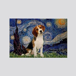 Starry Night & Beagle Pup Rectangle Magnet