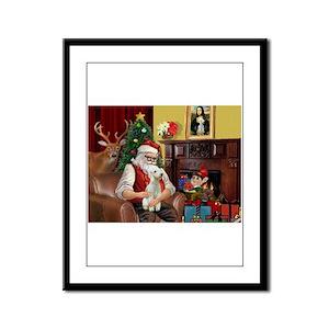 Santa's Bedlington Framed Panel Print