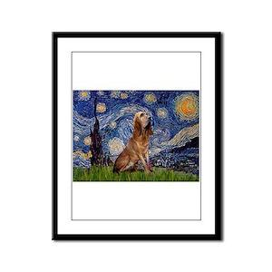 Starry Night Bloodhound Framed Panel Print