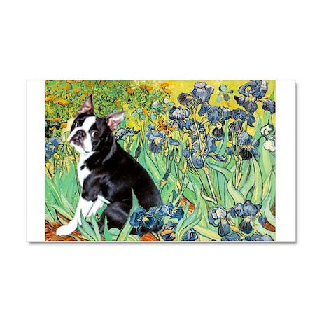 Irises & Boston Terrier Car Magnet 20 x 12