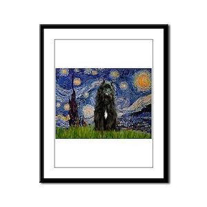 Starry Night Bouvier Framed Panel Print
