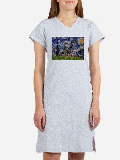 Starry Night & Dobie Pair Women's Nightshirt