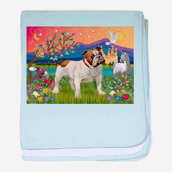 English Bulldog Fantasyland baby blanket