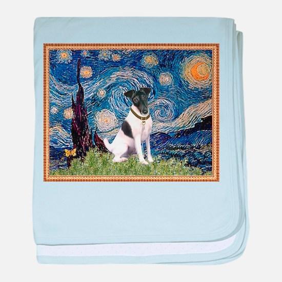Starry Night Fox Terrier (#1) baby blanket